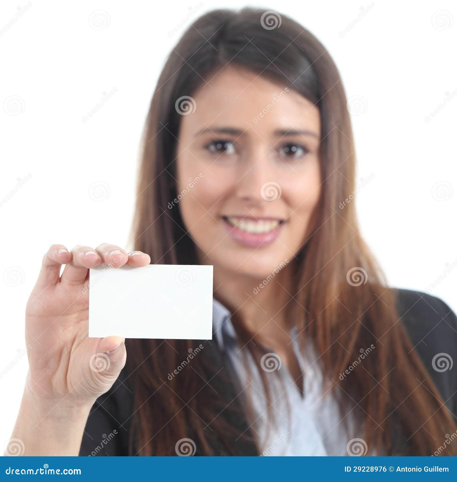 Download Mulher Bonita Que Mostra Um Cartão Vazio Foto de Stock - Imagem de povos, brunette: 29228976