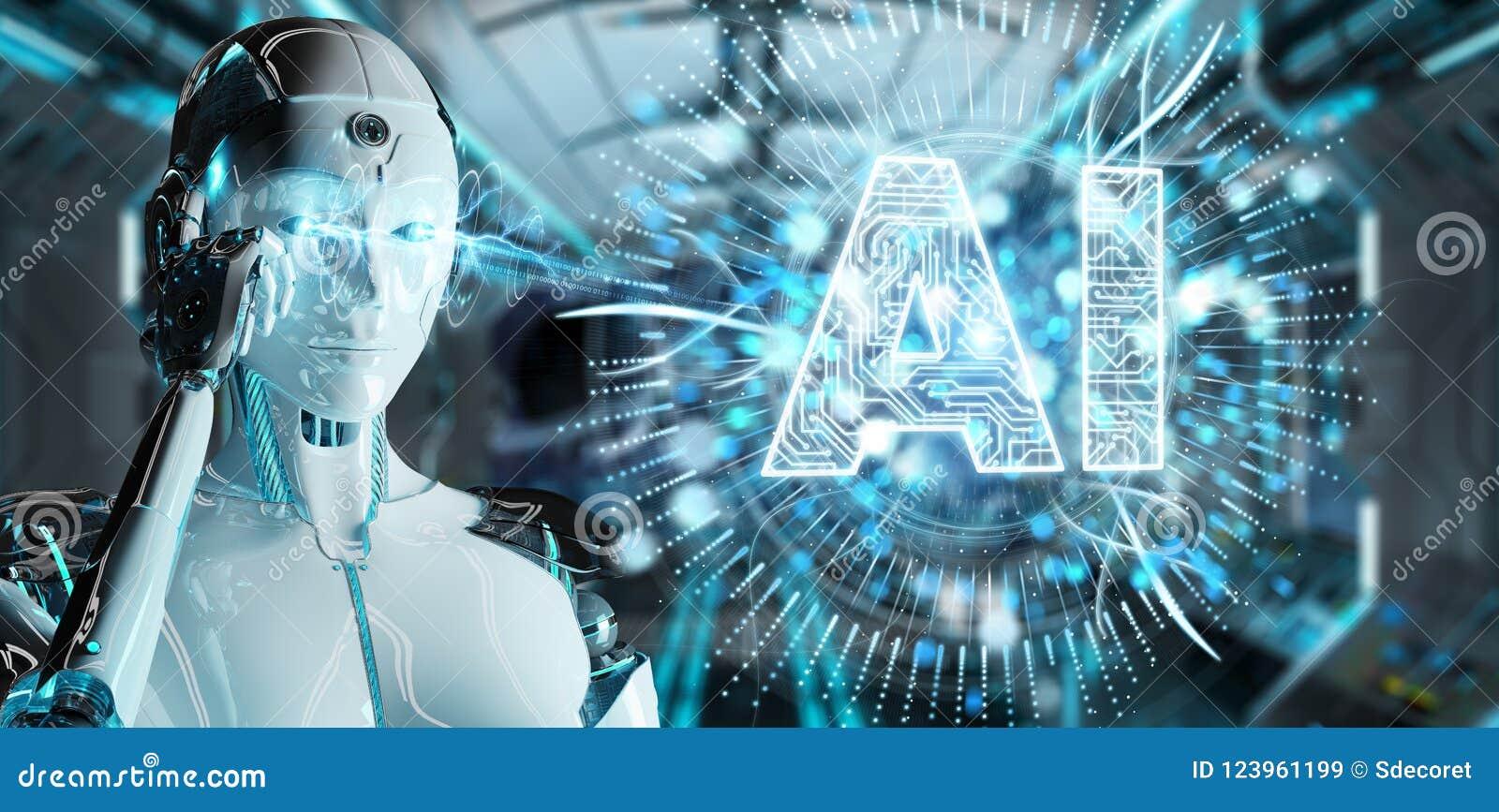 Mulher branca do humanoid que usa o ícone digital da inteligência artificial