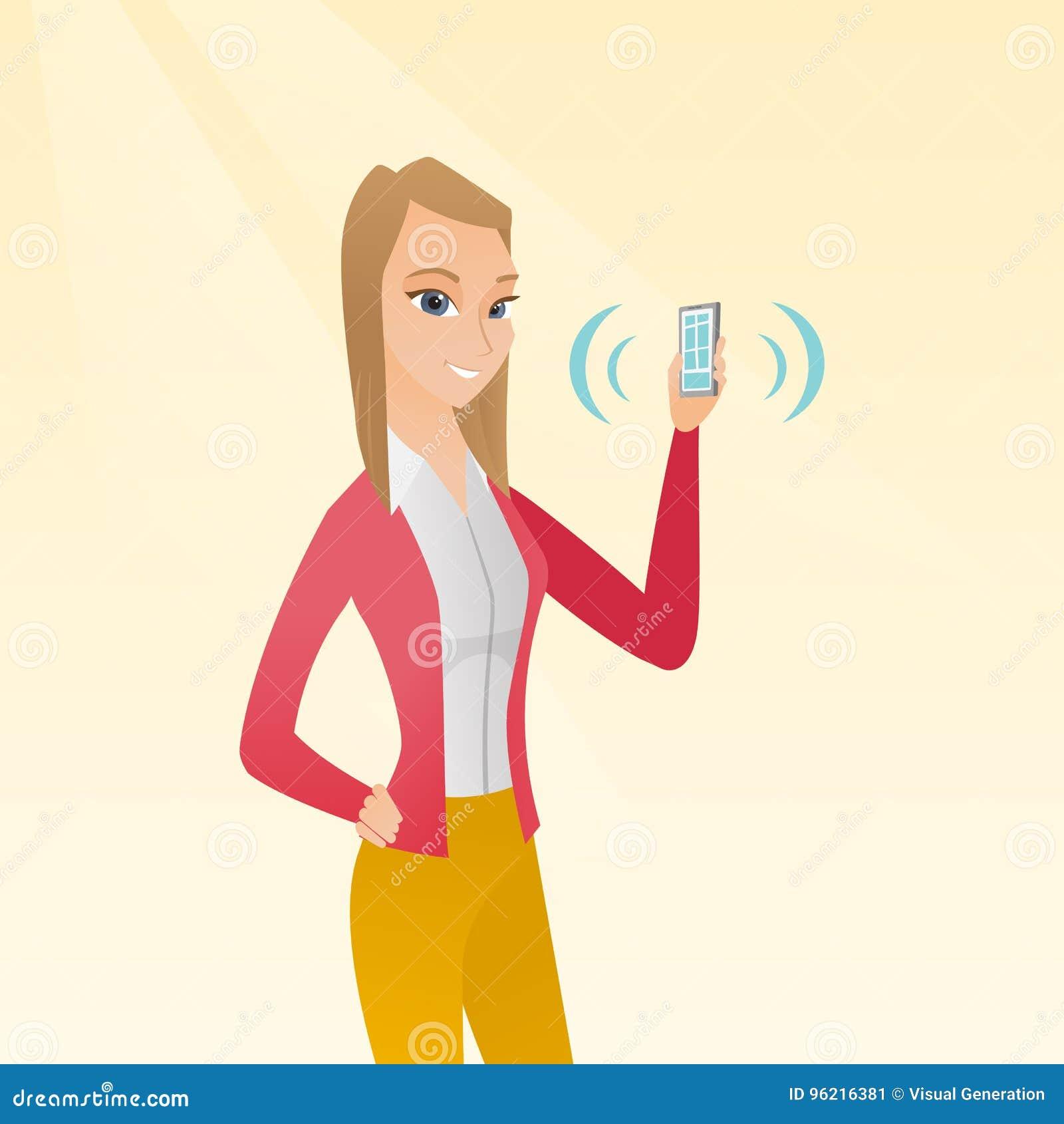 Mulher caucasiano nova que guarda o telefone celular de soada