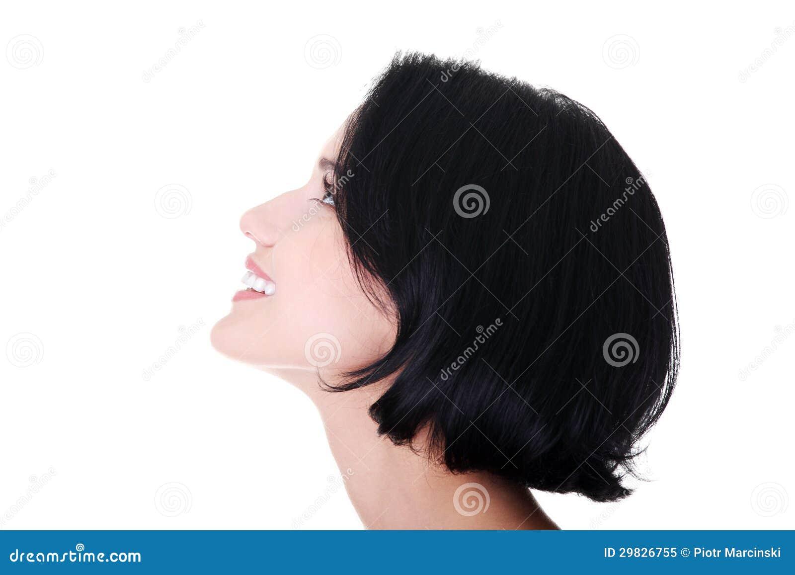 Mulher chocada e entusiasmado que olha acima