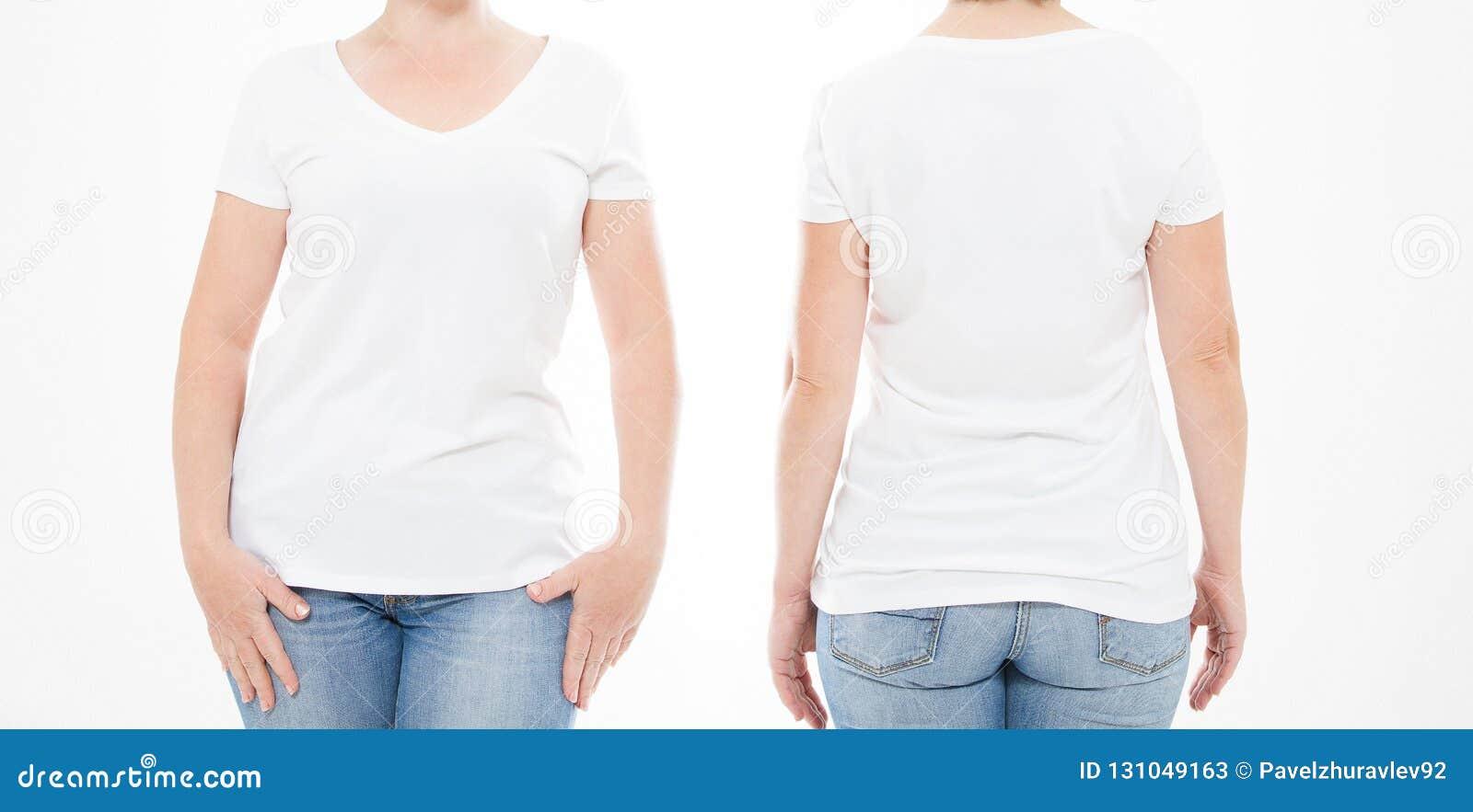 Mulher colhida do grupo do retrato no tshirt no fundo branco Zombaria acima para o projeto Copie o espaço molde blank