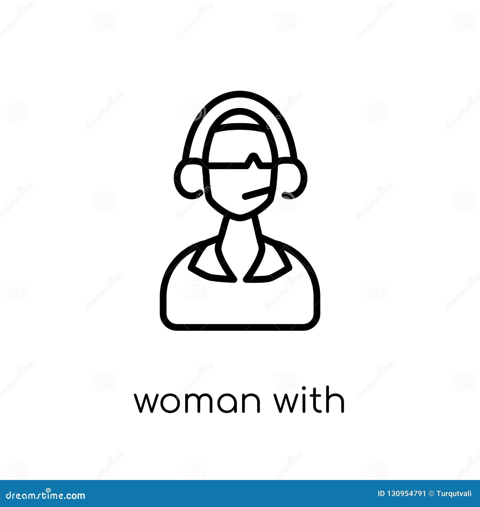 Mulher com ícone dos fones de ouvido e do microfone Li liso moderno na moda