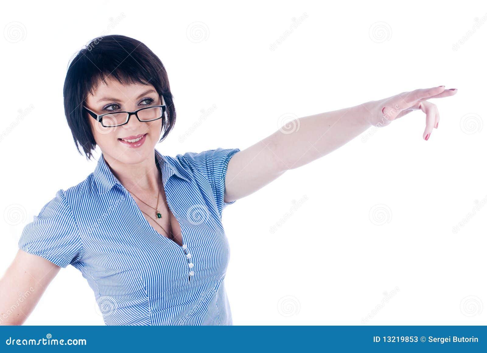 Mulher com apontar o dedo
