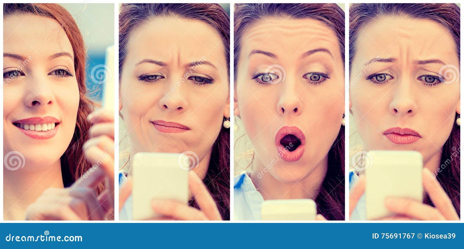 Mulher com as expressões diferentes que texting no telefone esperto