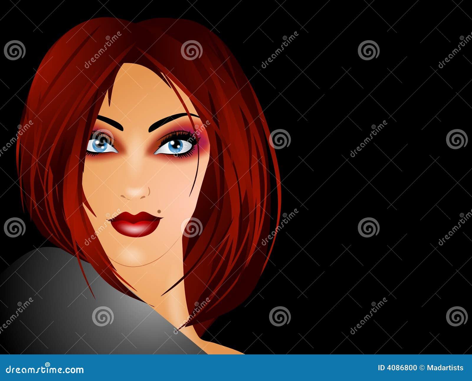 Mulher com cabelo vermelho longo no preto
