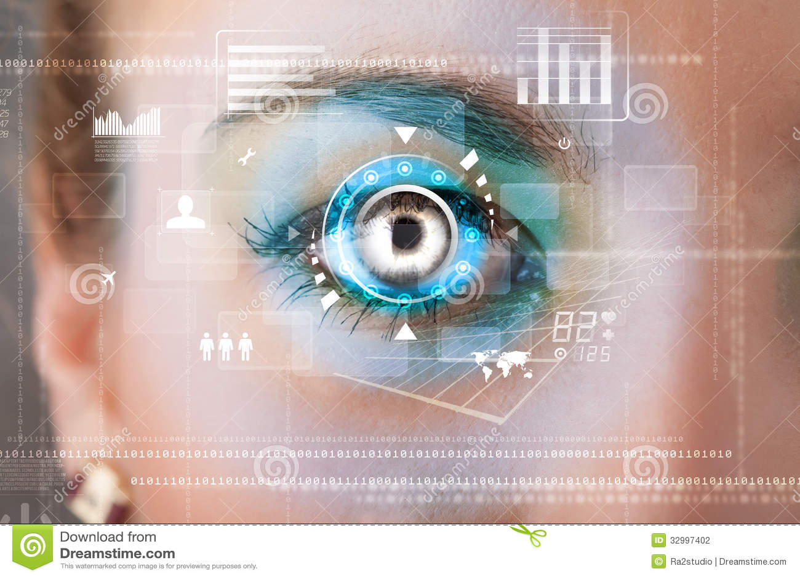 Mulher com conceito do painel do olho da tecnologia do cyber