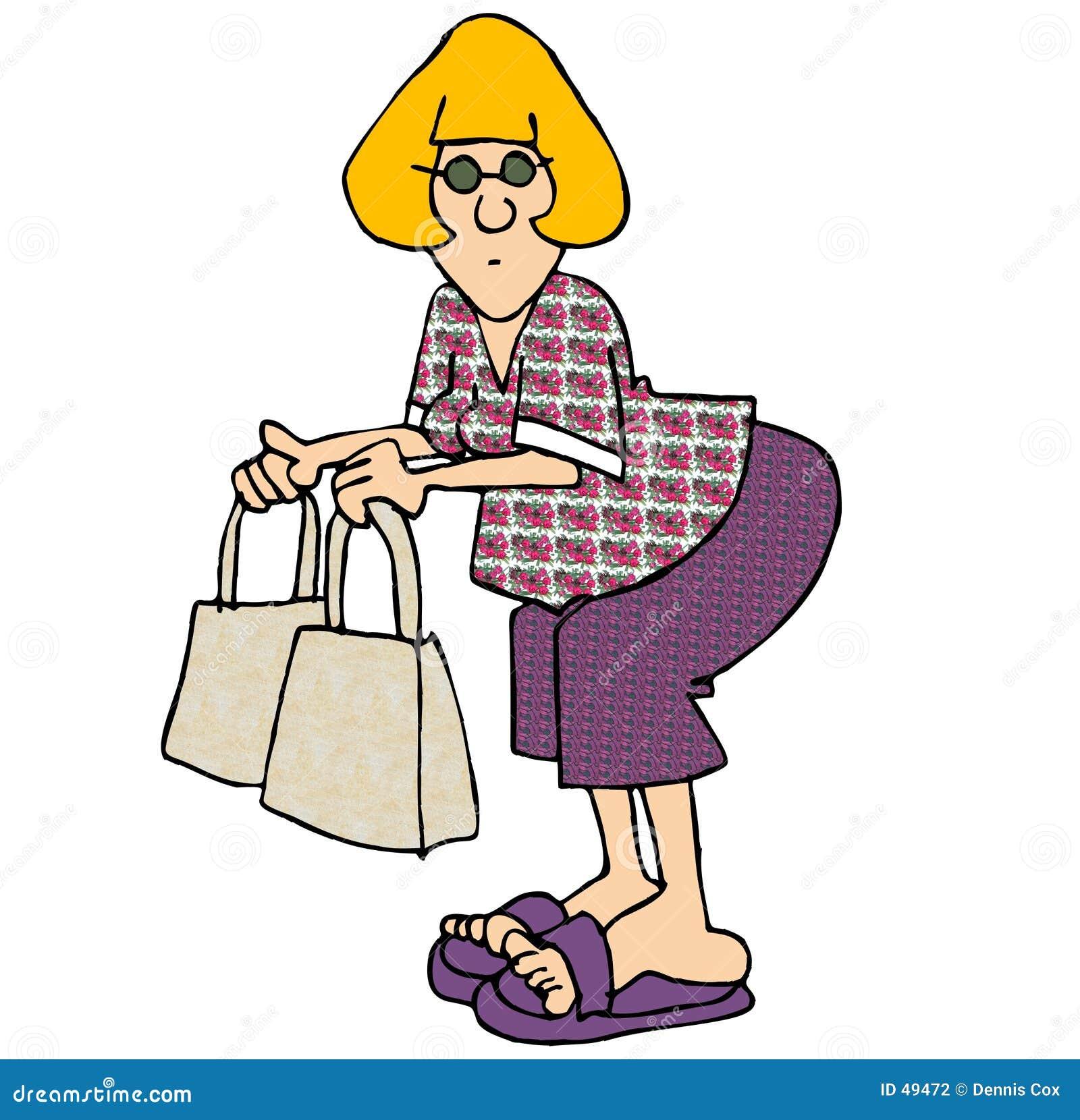 Mulher com dois sacos