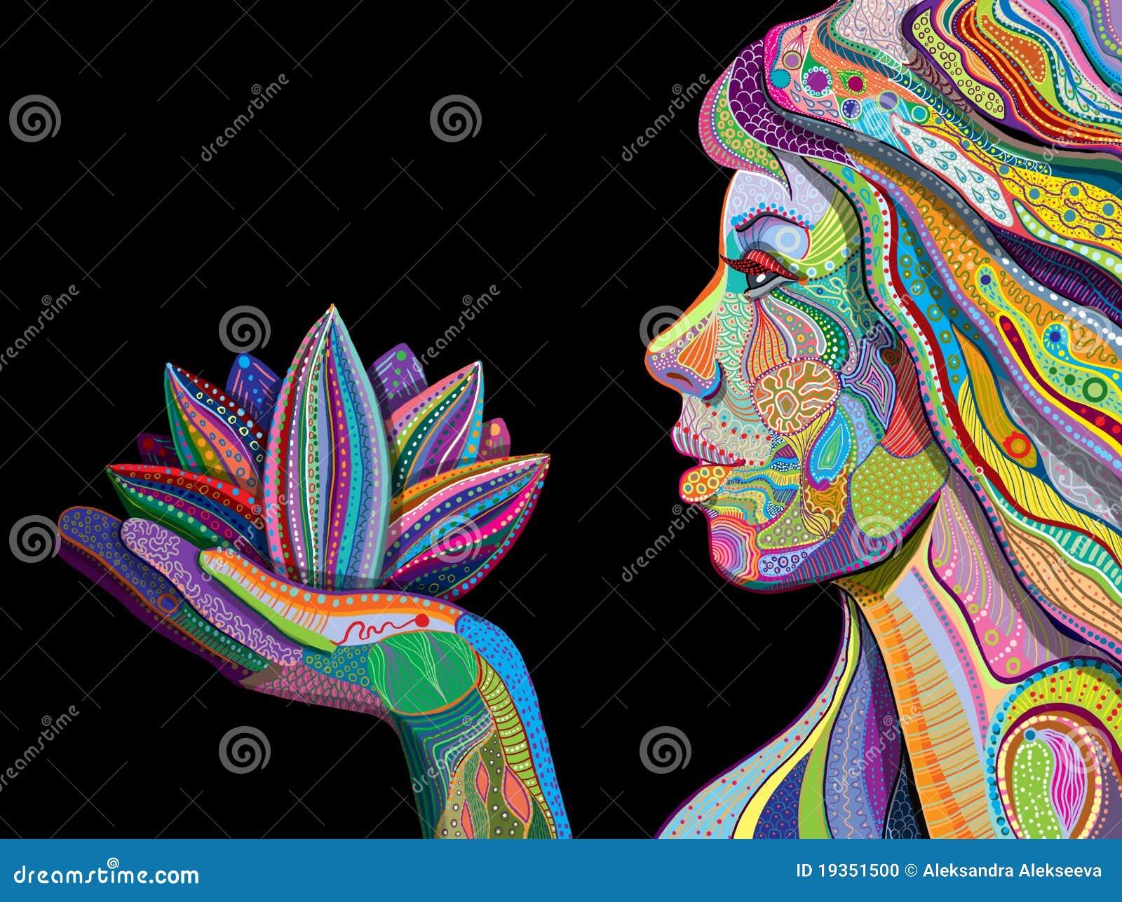 Mulher com a flor de lótus indiana da terra arrendada do teste padrão