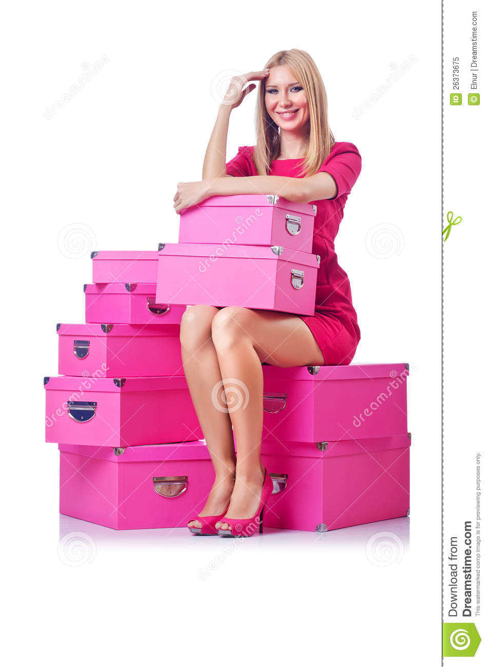 Mulher com giftboxes