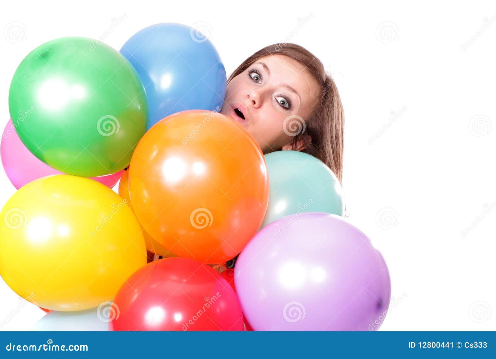 Mulher com os balões, isolados.