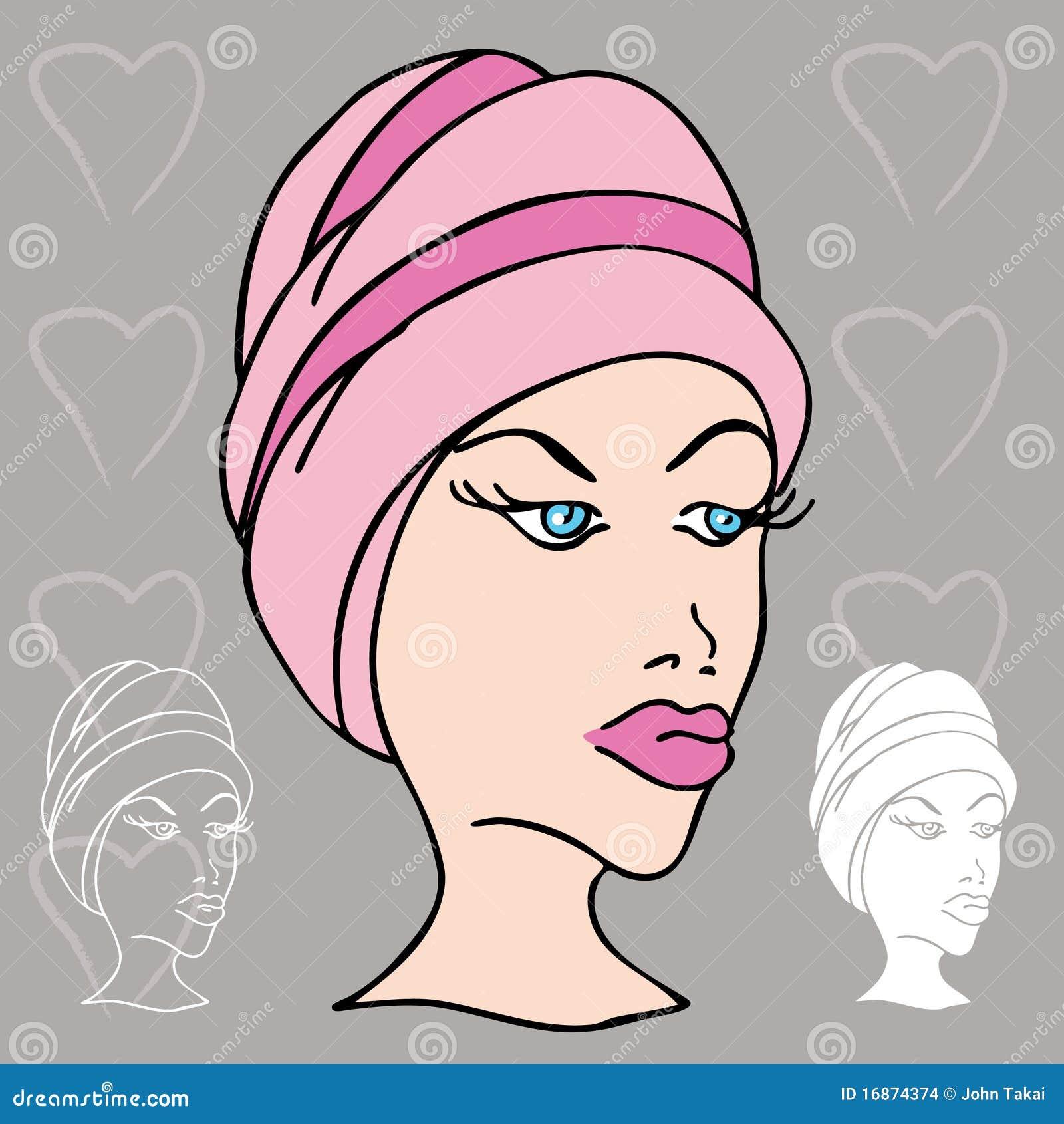 Mulher com a toalha em sua cabeça
