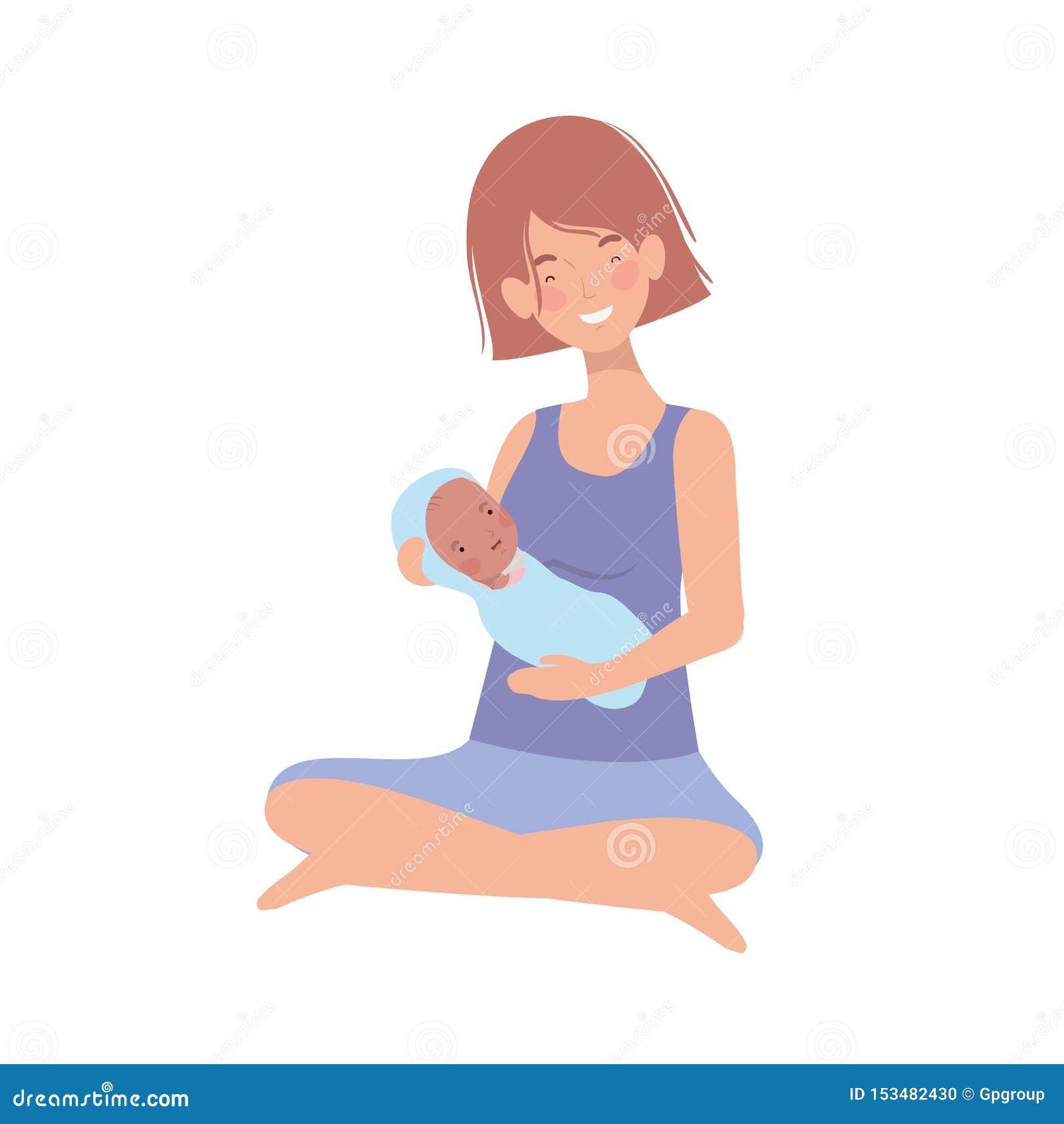 Mulher com um bebê recém-nascido em seus braços