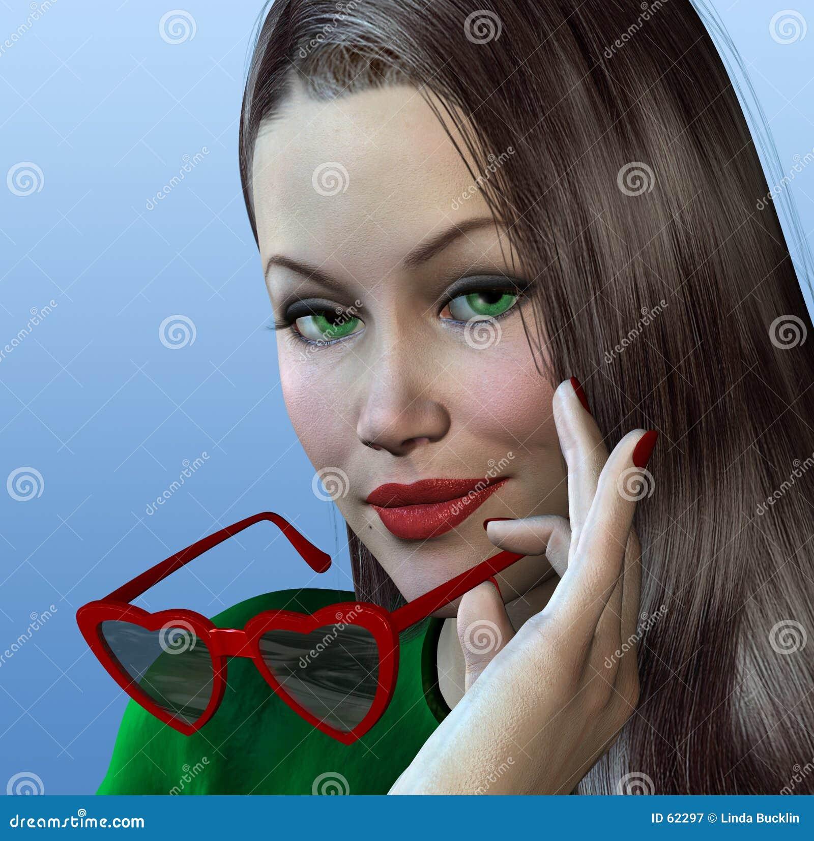 Mulher com vidros dados forma coração