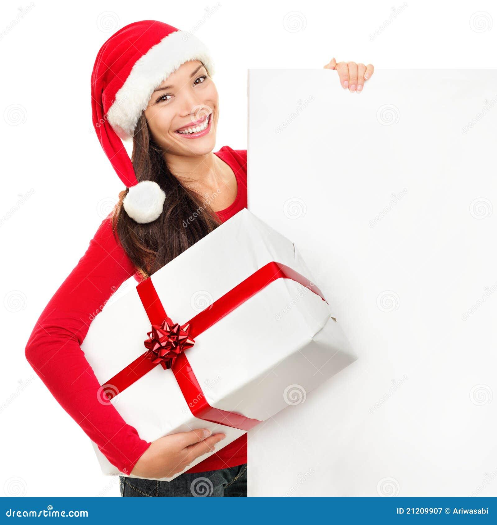 Mulher da placa do sinal do Natal