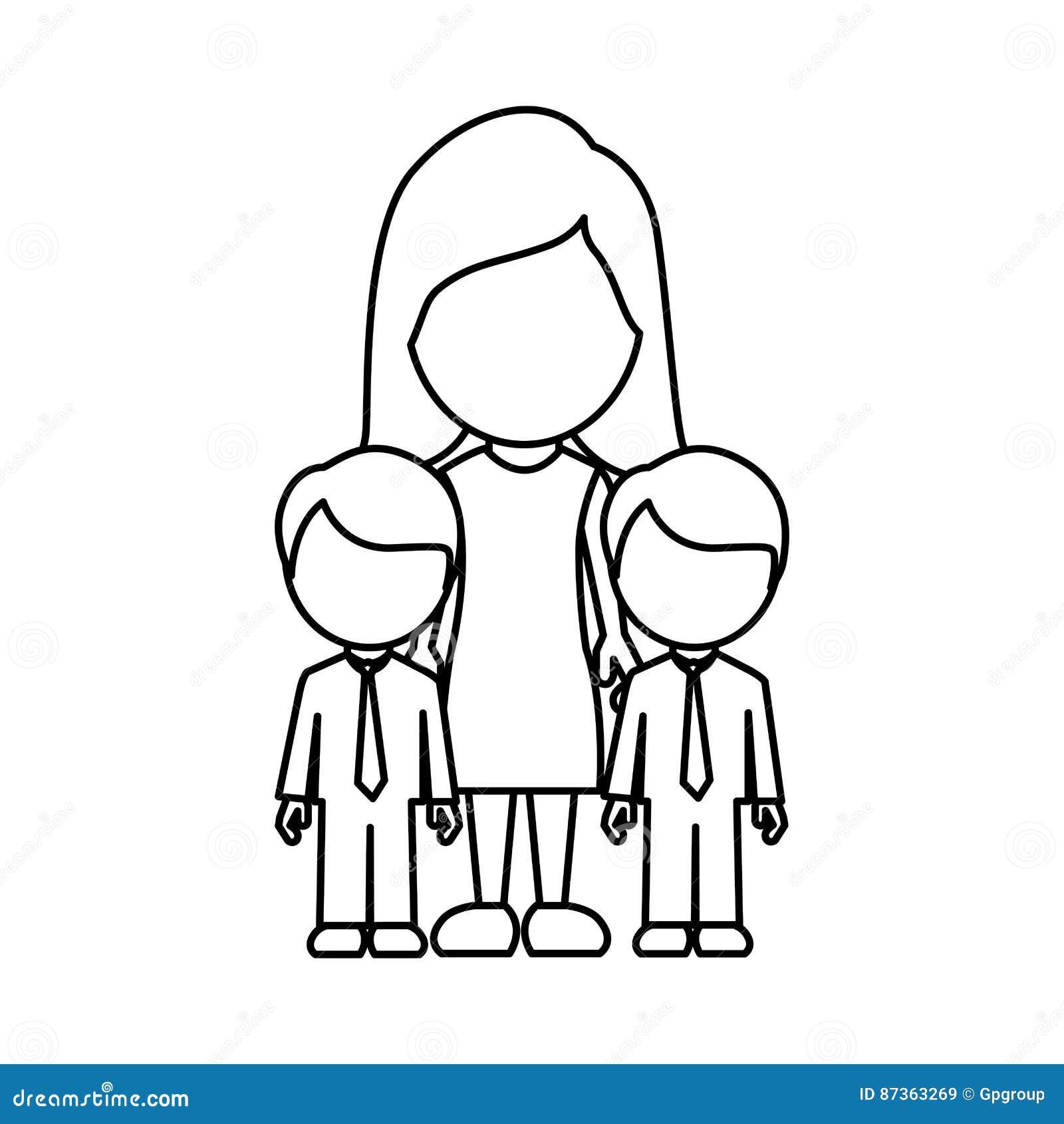 Mulher da silhueta seu ícone dos gêmeos dos meninos
