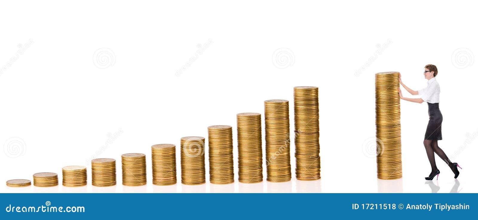 Mulher de Busines com moedas da coluna