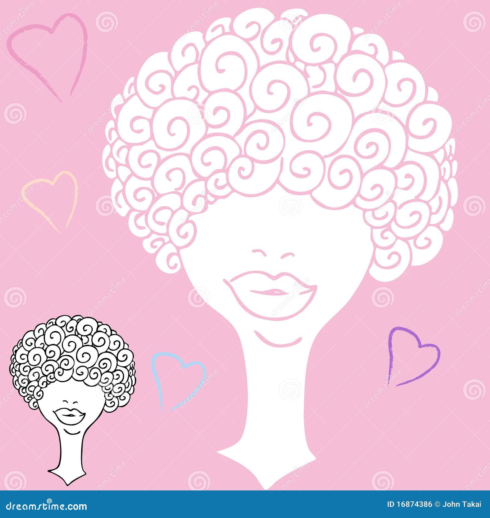 Mulher de cabelo Curly