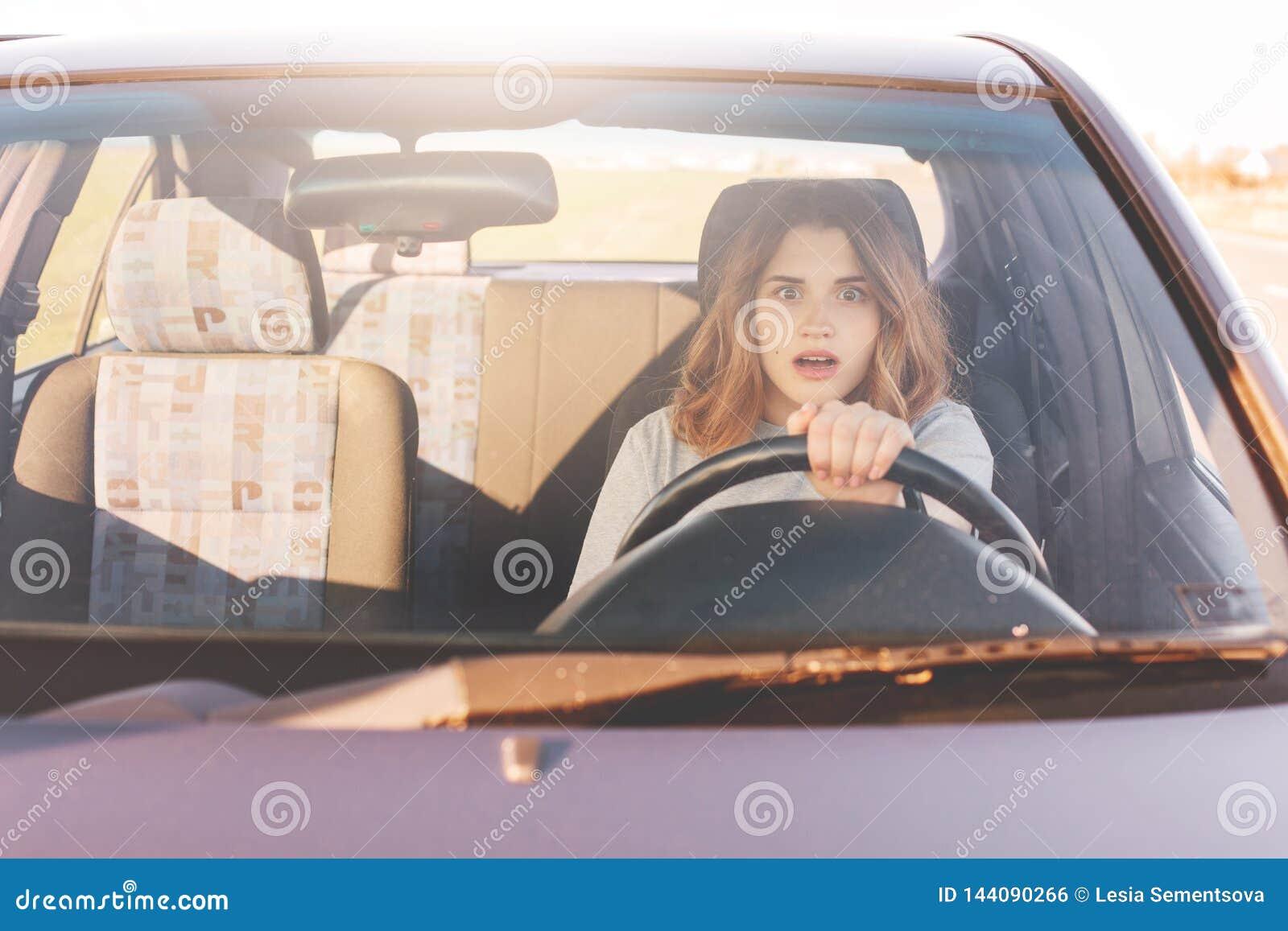 A mulher de condução temível, aprende conduzir o automóvel, fêmea atrativa senta-se na roda apenas pela primeira vez, tenta evita