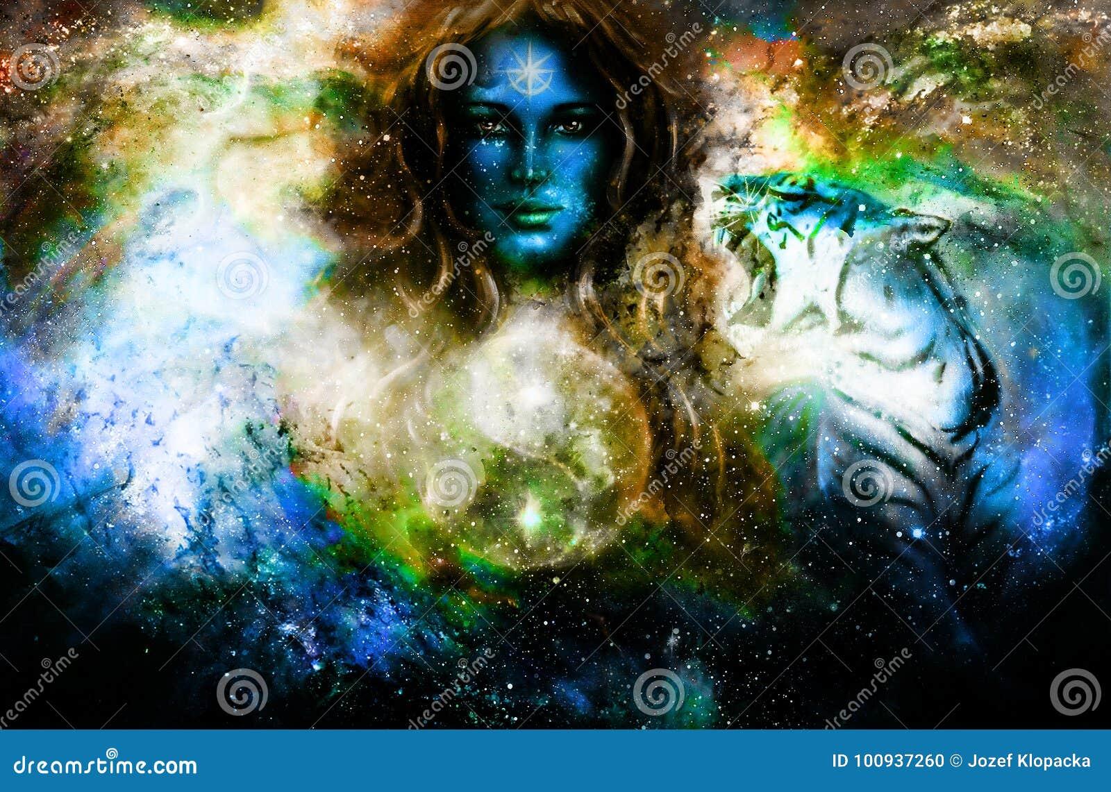 Mulher de Goodnes e animais e símbolo Yin Yang Fundo cósmico do espaço