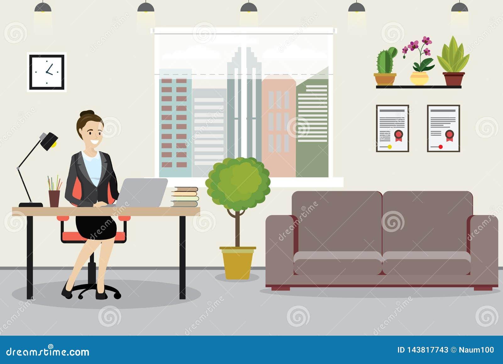 Mulher de negócio caucasiano da beleza no local de trabalho no negócio moderno