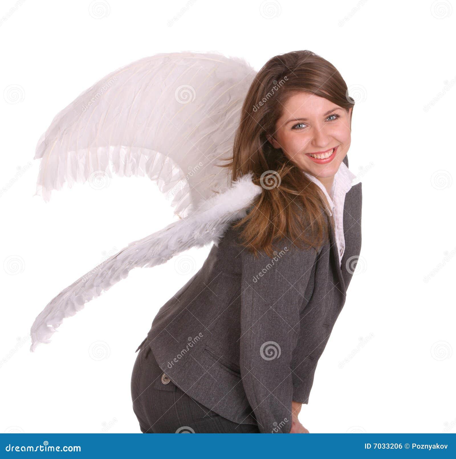 Mulher de negócio com asa do anjo.