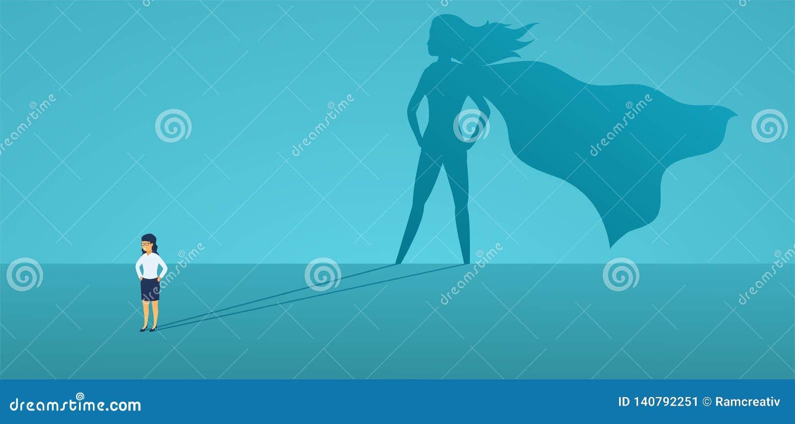 Mulher de negócio com super-herói grande da sombra Líder super do gerente no negócio Conceito do sucesso, qualidade da liderança