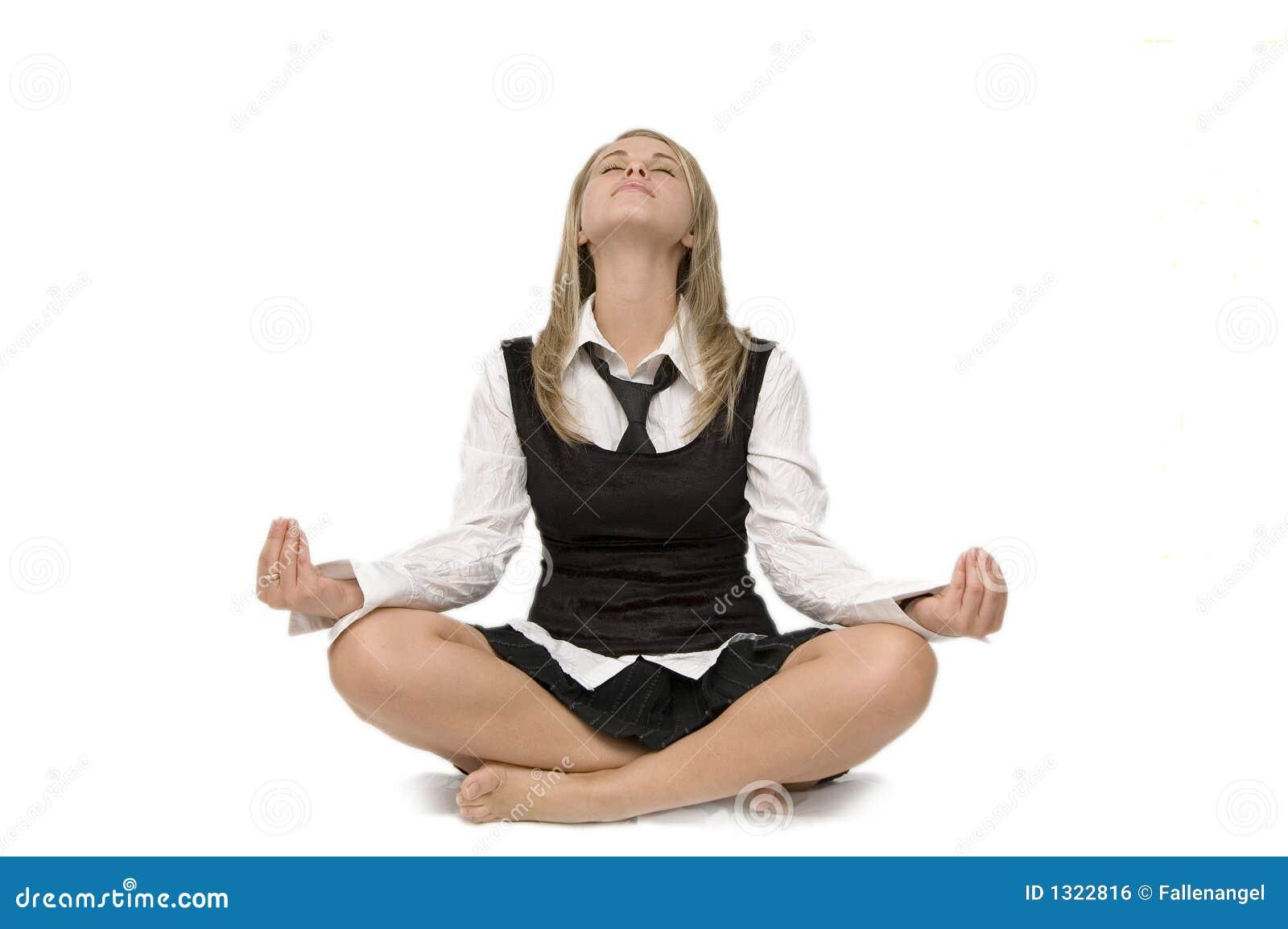 Mulher de negócio da meditação