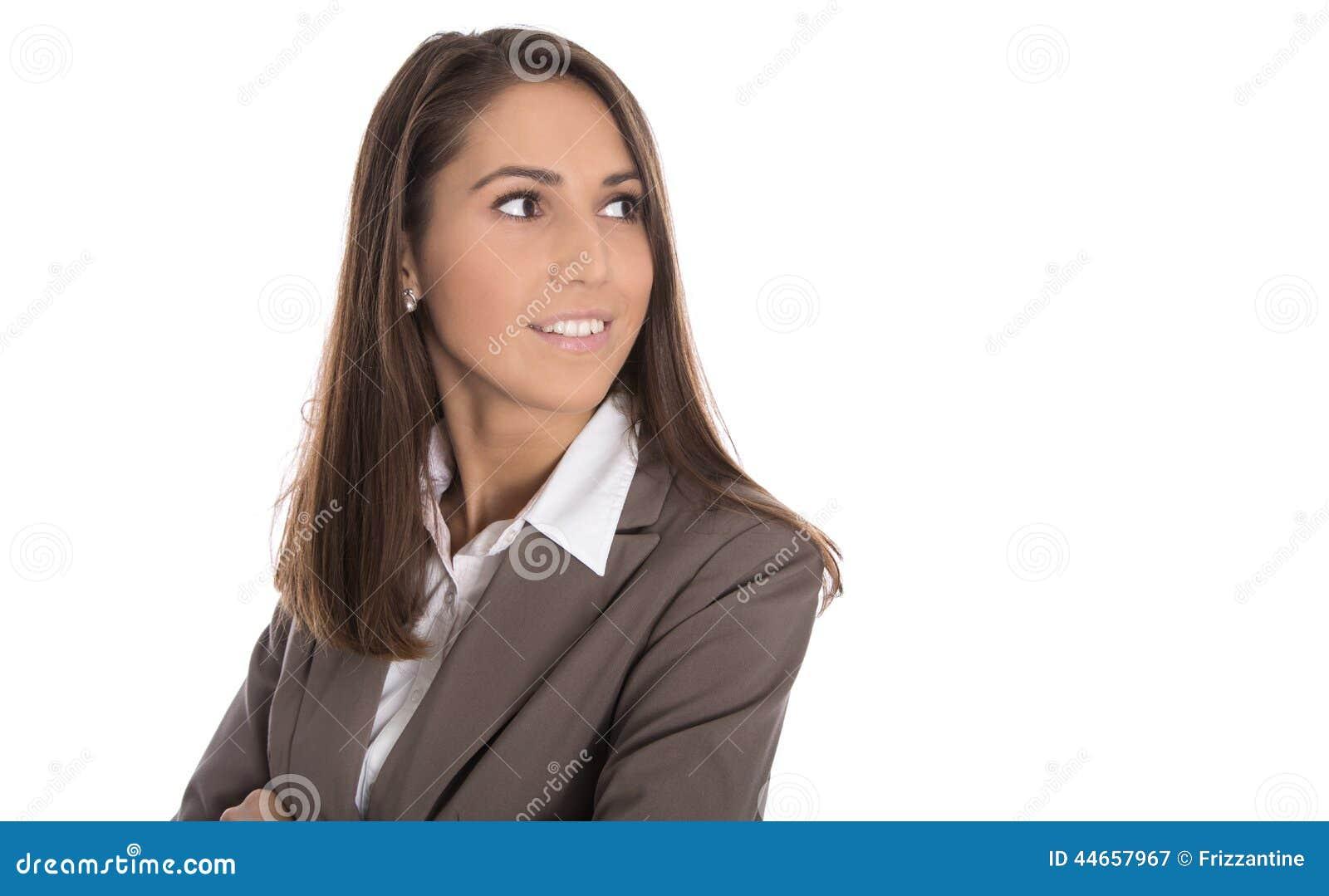 Mulher de negócio de sorriso isolada que olha lateralmente ao texto