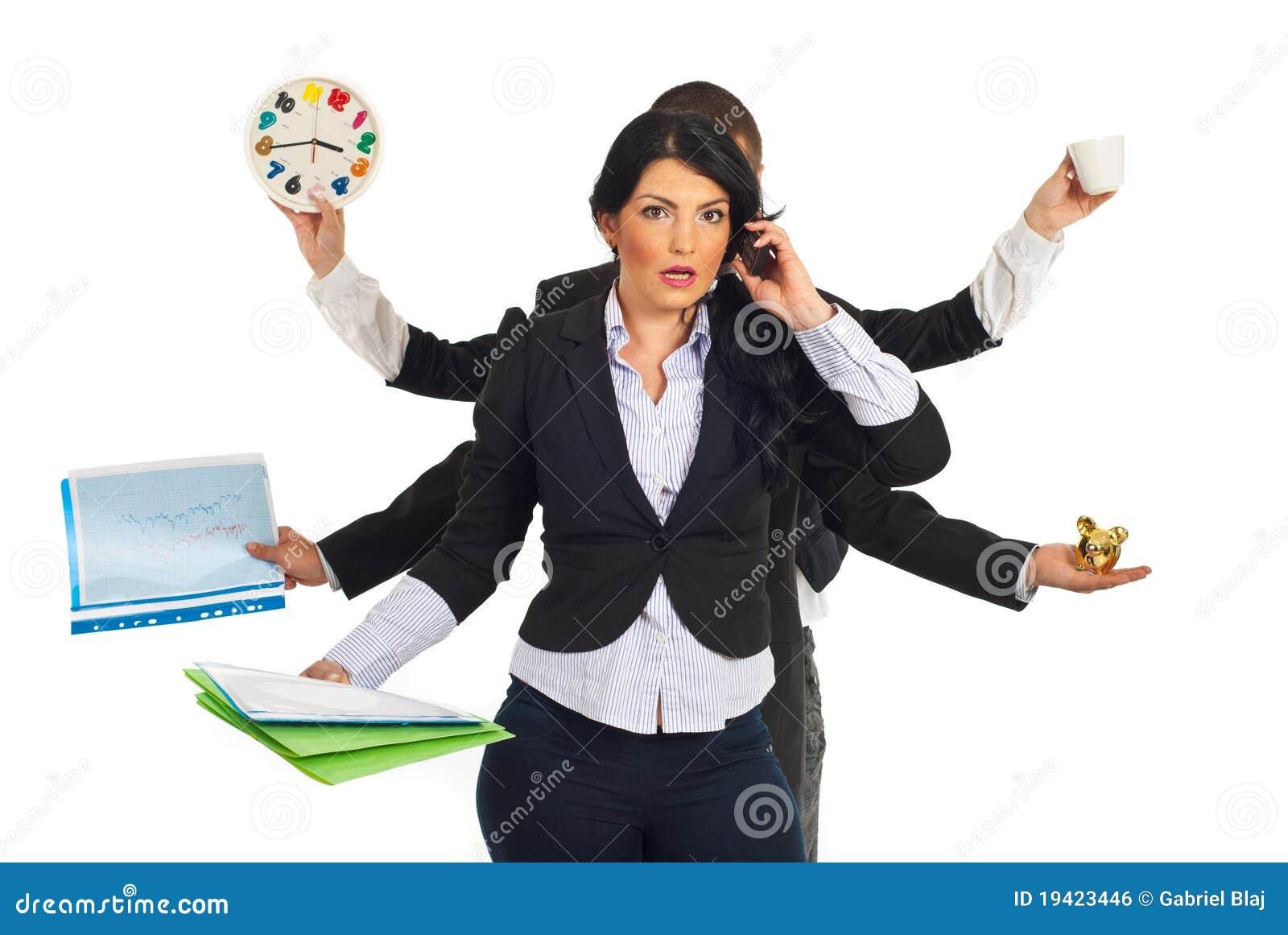 Mulher de negócio forçada ocupada