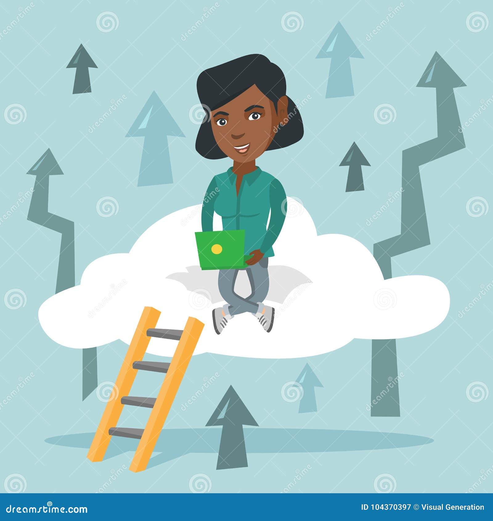 Mulher de negócio nova que senta-se na nuvem com portátil