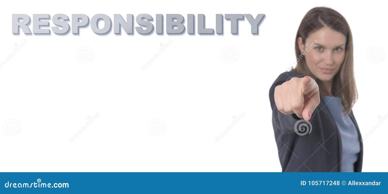 Mulher de negócio que aponta o CONCEITO da RESPONSABILIDADE do texto
