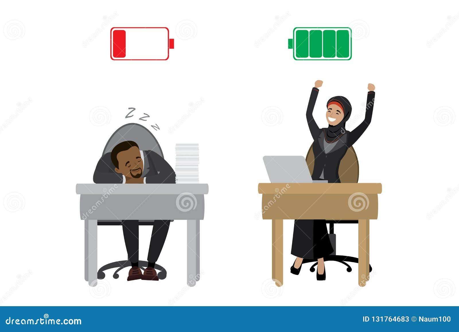 Mulher de negócios árabe feliz forte e homem de negócios afro-americano cansado, bateria descarregada carregada e vermelha verde,
