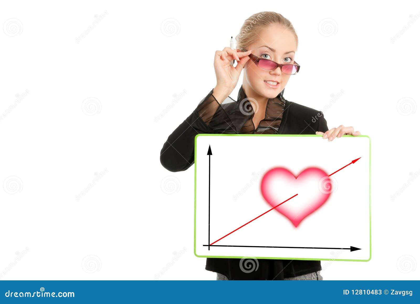 Mulher de negócios com diagrama do dia do Valentim