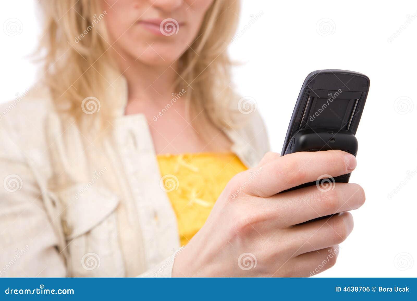 Mulher de negócios com telefone de pilha