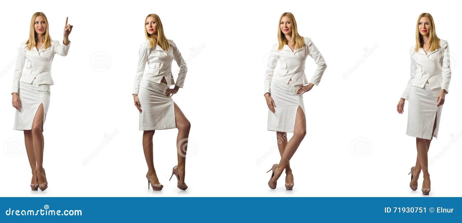 A mulher de negócios da mulher isolada no branco