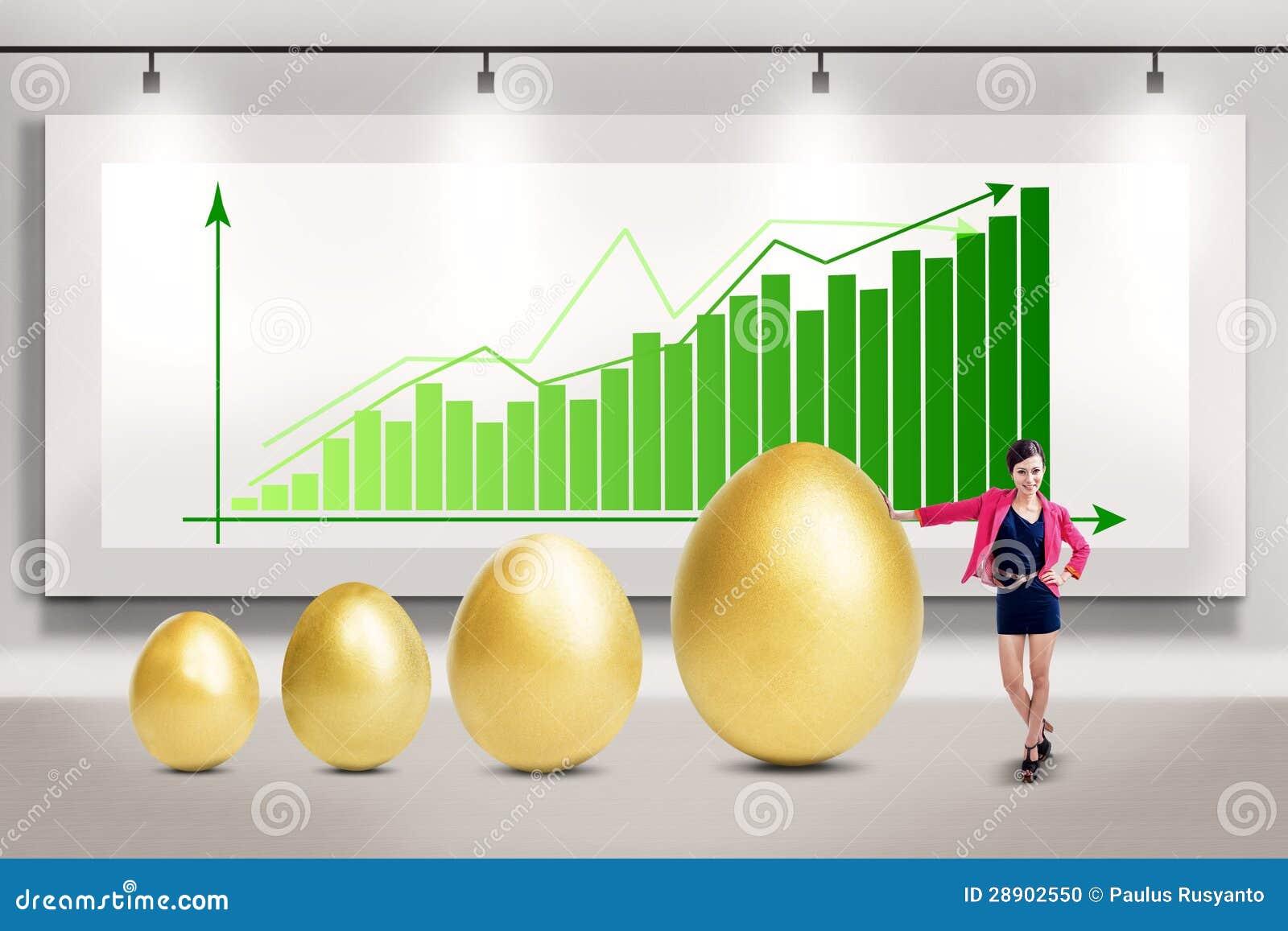Mulher de negócios e crescimento de lucro