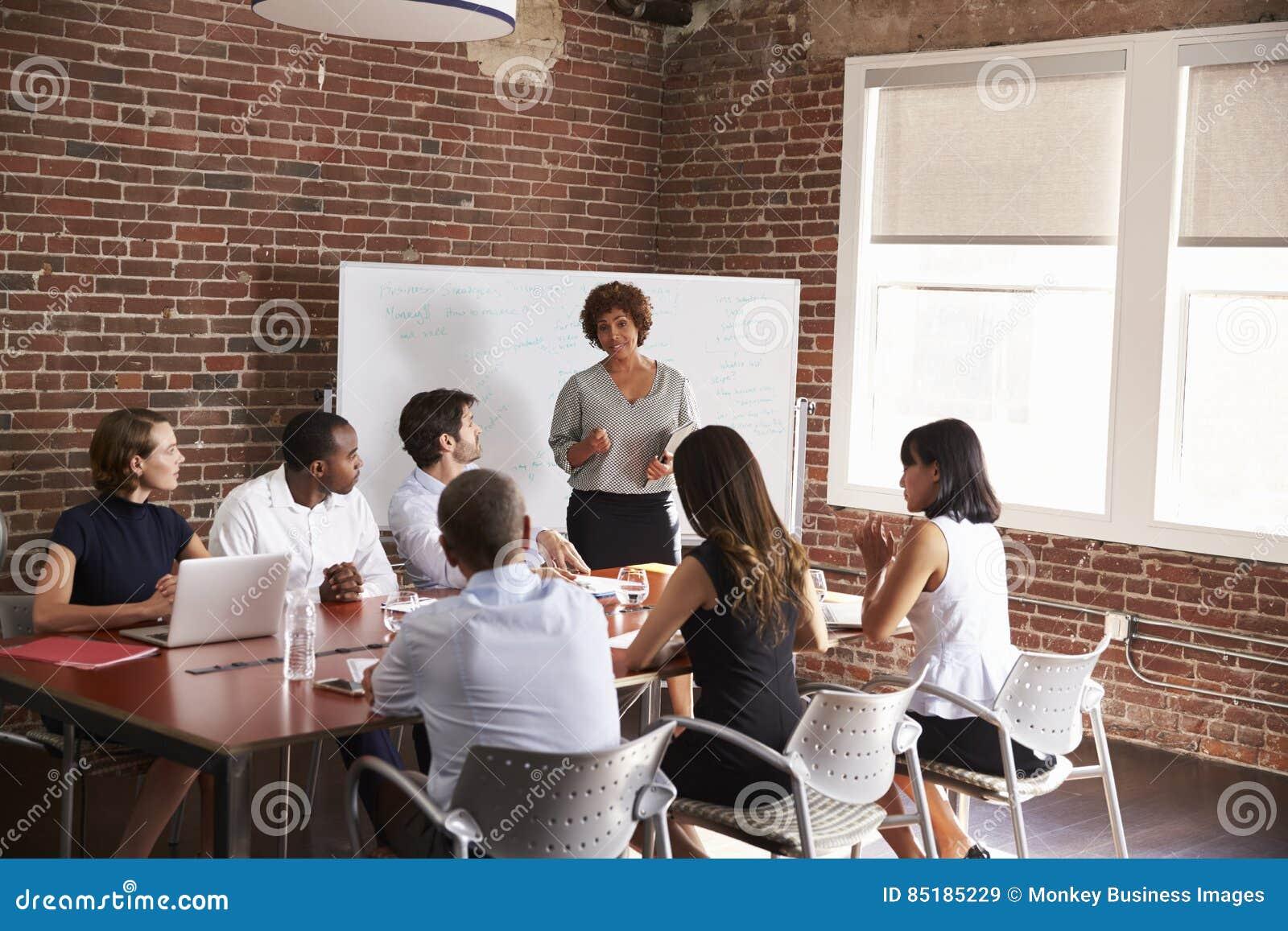 Mulher de negócios madura Addressing Boardroom Meeting