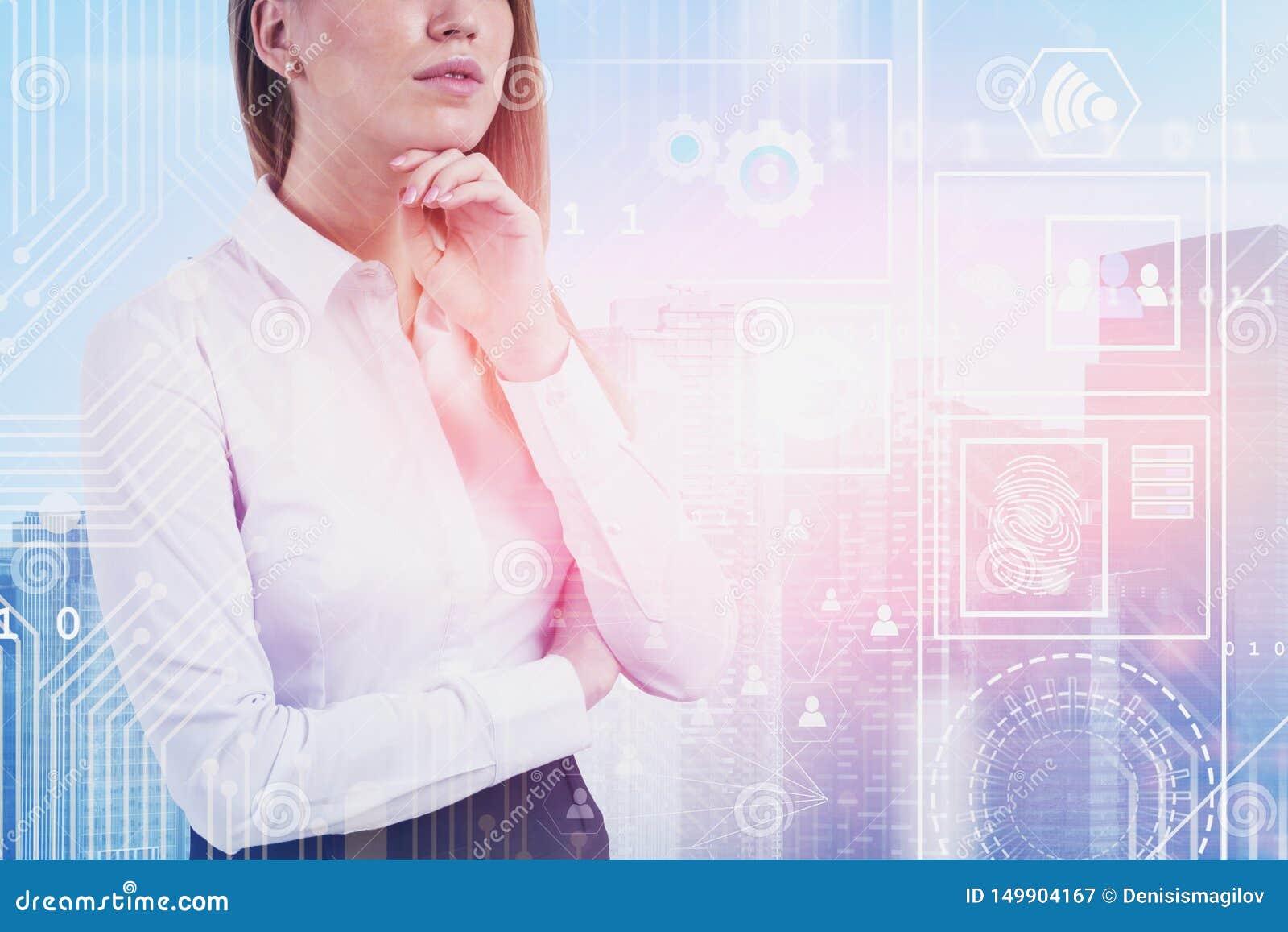 Mulher de negócios na cidade, relação digital