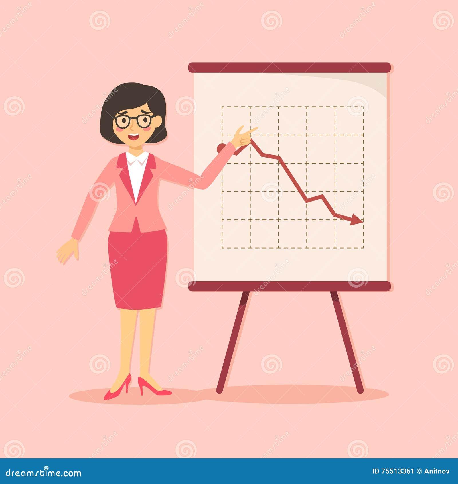Mulher de negócios Presentation Down