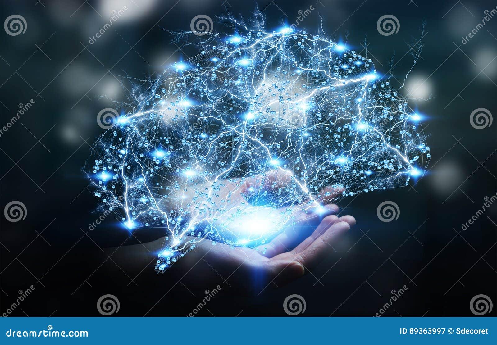 Mulher de negócios que guarda o cérebro humano do raio X digital em sua mão 3D r