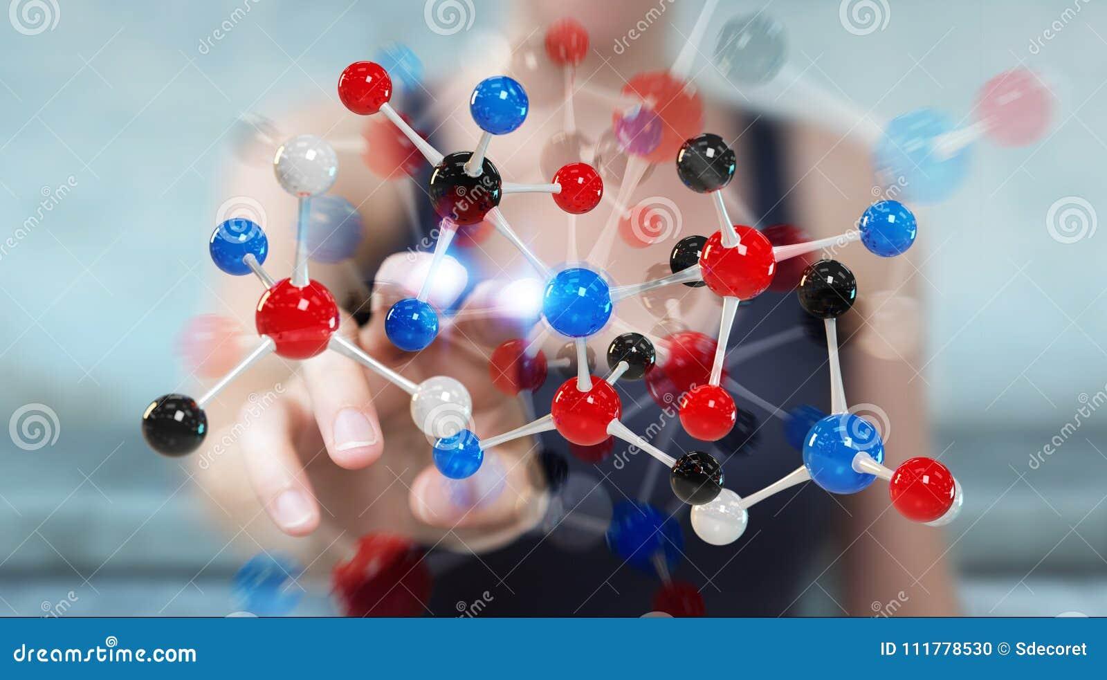 Mulher de negócios que usa a rendição moderna da estrutura 3D da molécula