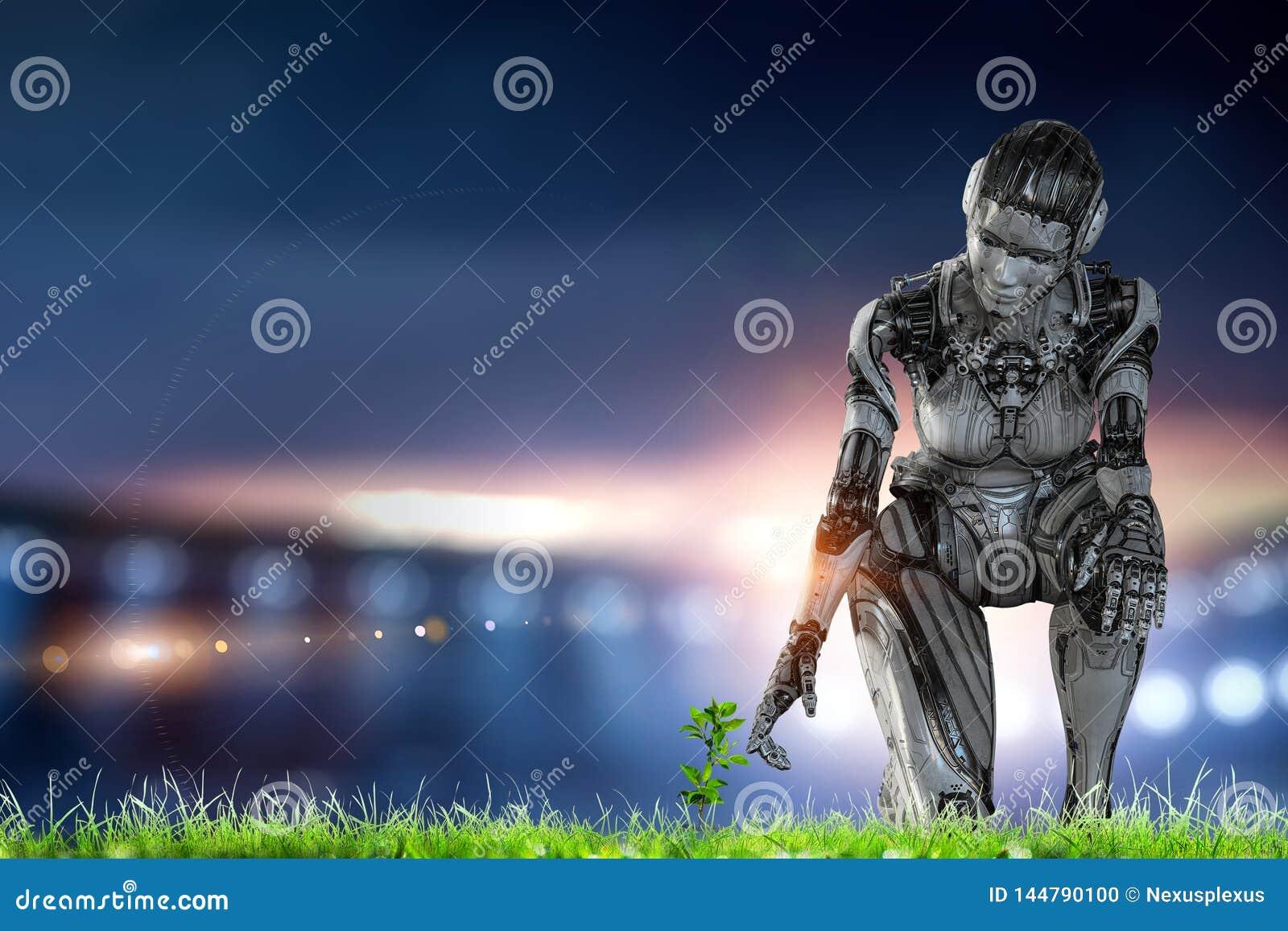 Mulher de prata do Cyborg que senta-se em em uns joelho e sorriso