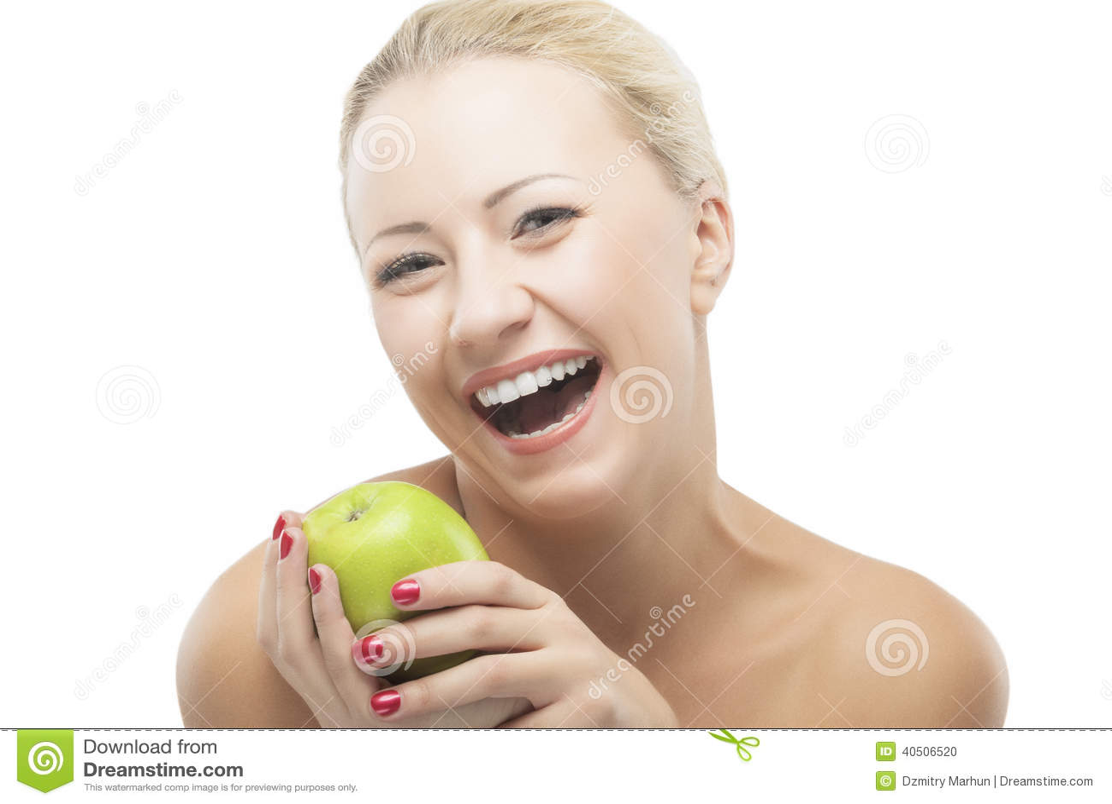 Mulher de sorriso feliz que faz dieta com Apple verde Estilo de vida saudável,