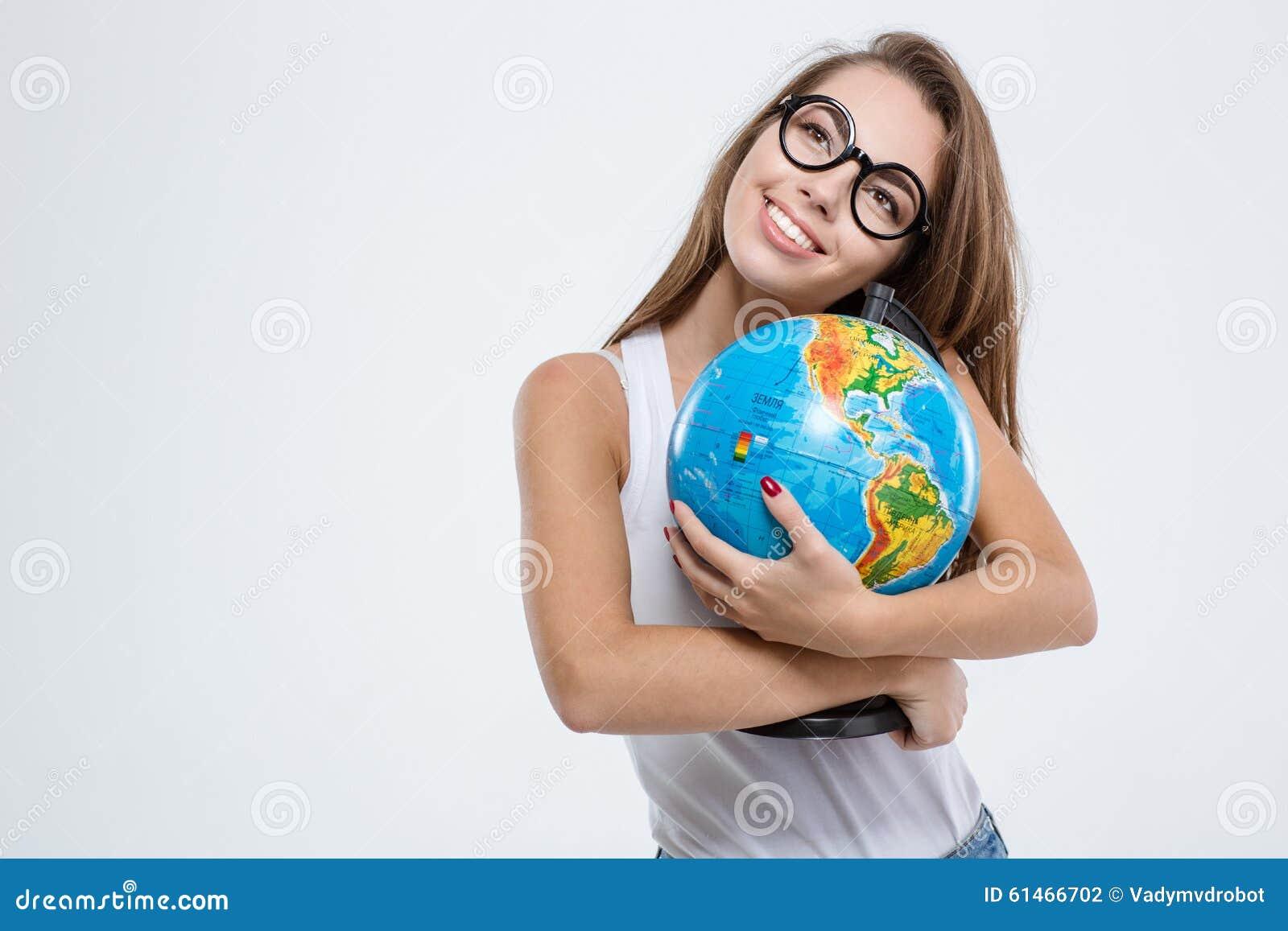 Mulher de sorriso nos vidros que guardam o globo foto de stock imagem 61466702 - Oglo o ...