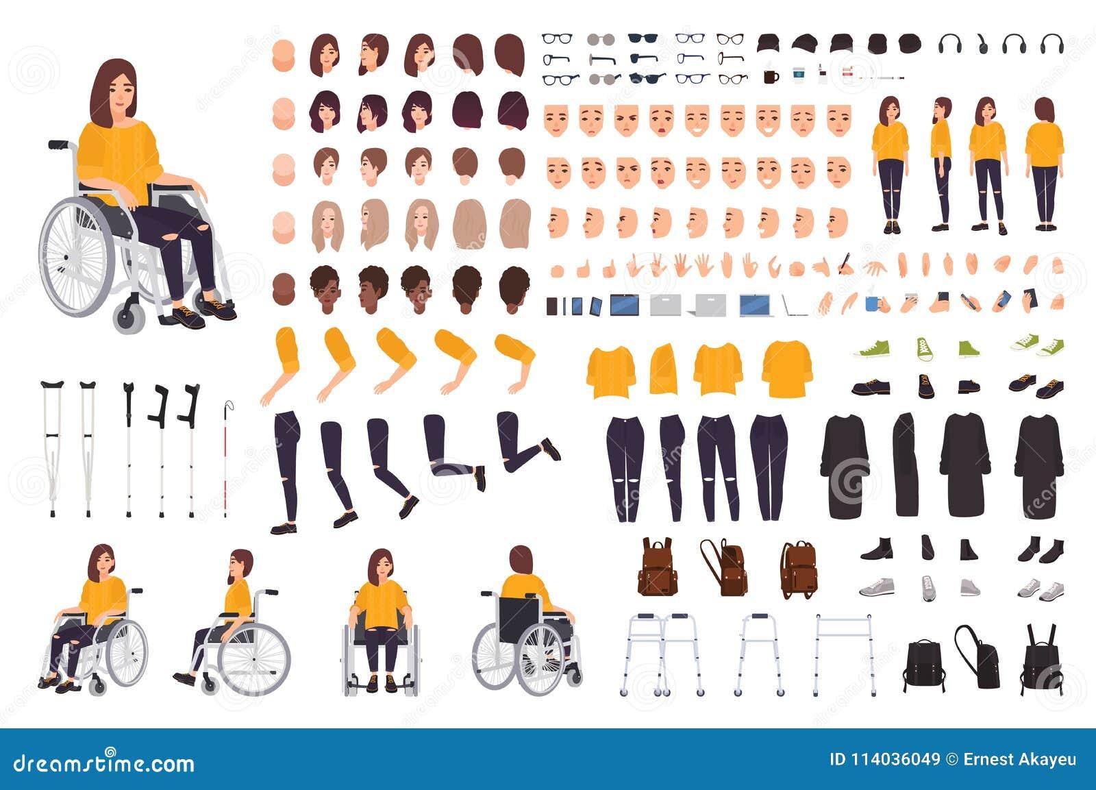 Mulher deficiente nova no construtor da cadeira de rodas ou no jogo de DIY Grupo de partes do corpo, expressões faciais, muletas,