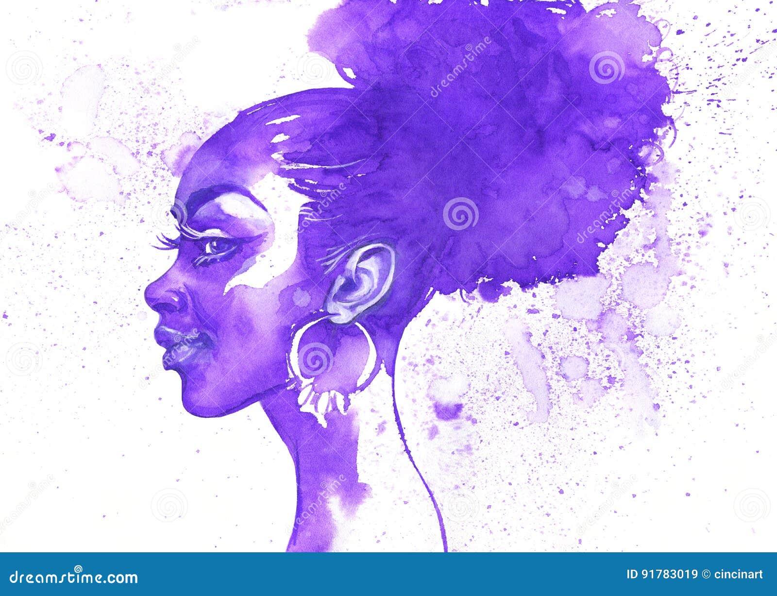 Mulher do africano da beleza da aquarela Retrato abstrato tirado mão da forma com respingo