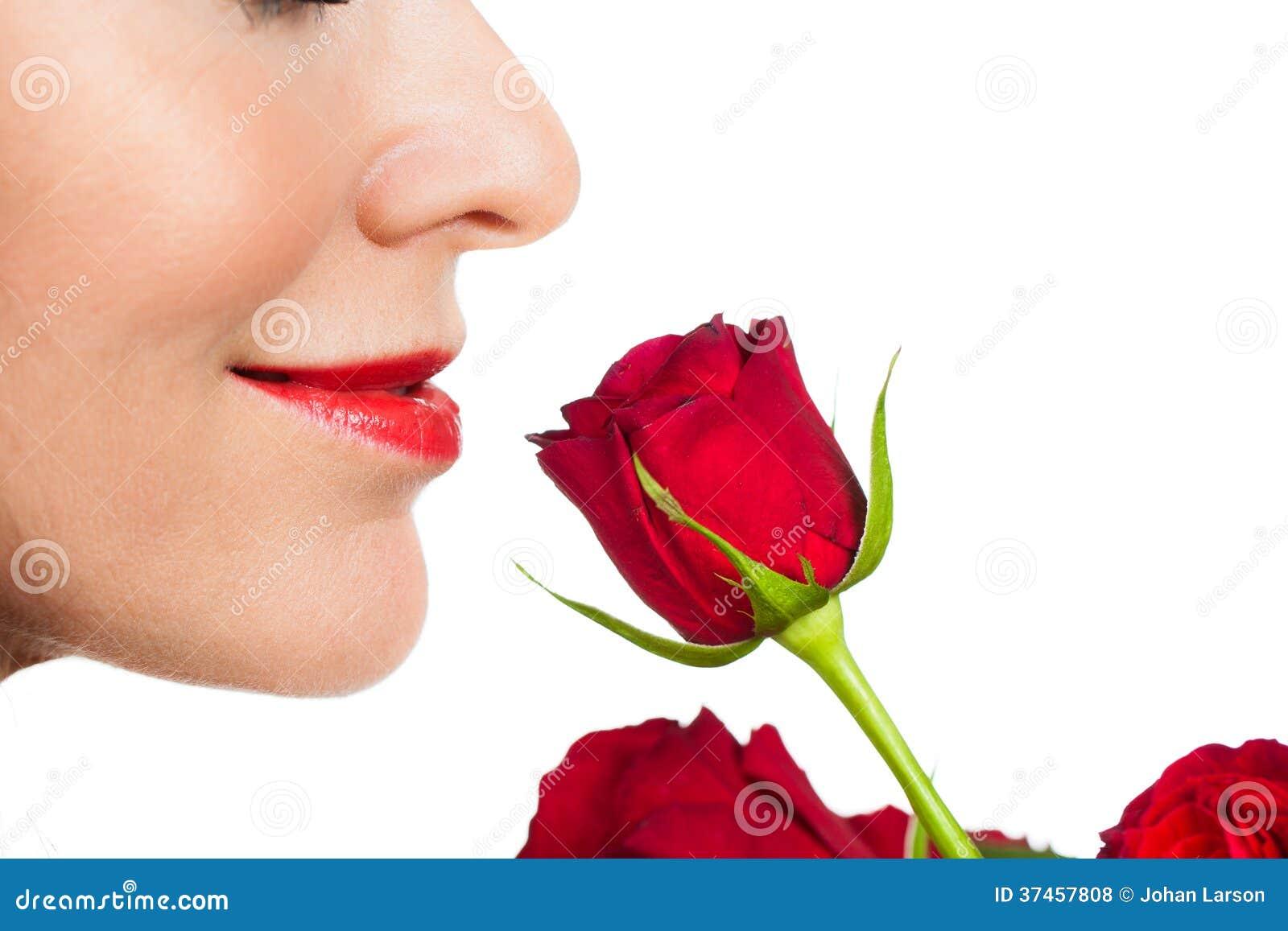 Mulher do close-up que cheira uma rosa