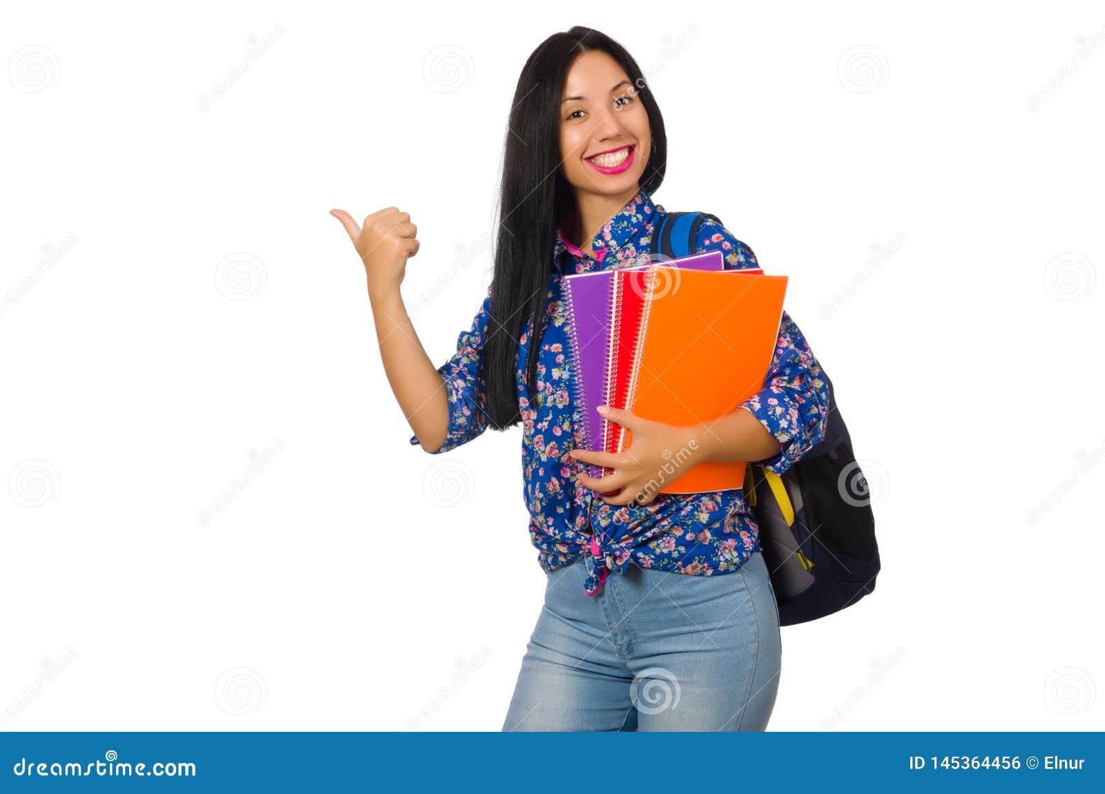 A mulher do latino com as notas isoladas no branco