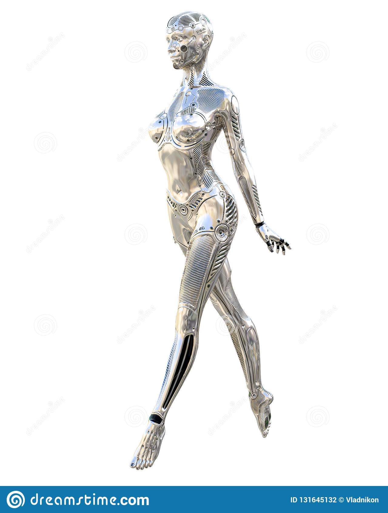 Mulher do robô da dança Droid de prata brilhante do metal Inteligência artificial Arte conceptual da forma 3d realísticos rendem