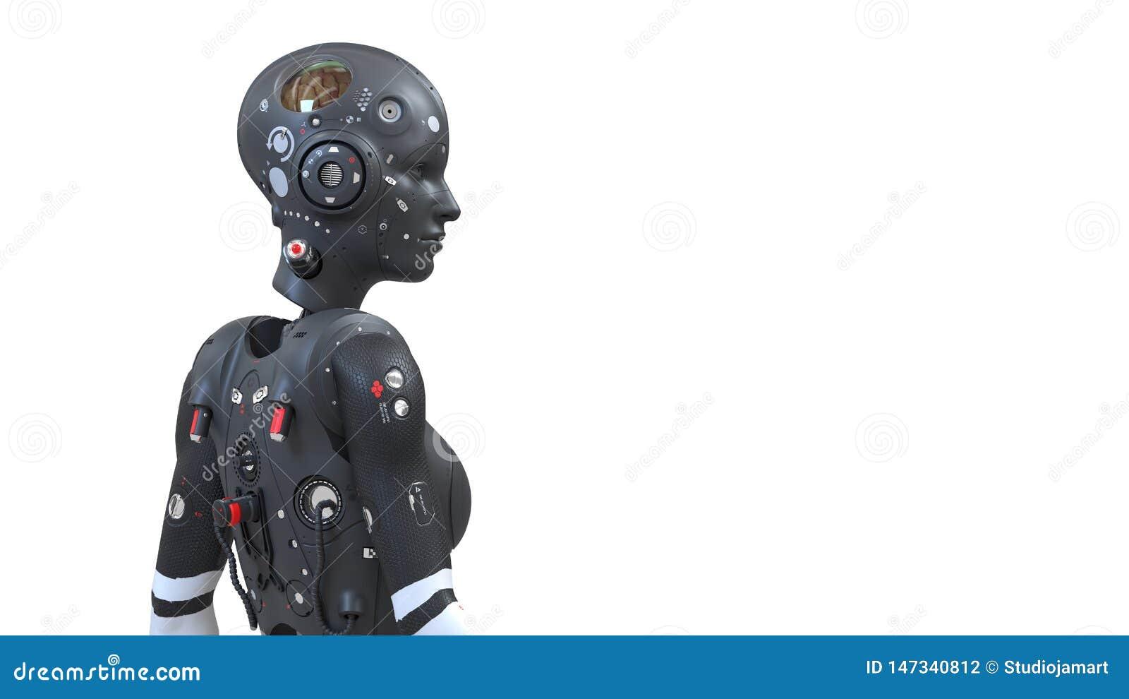 Mulher do robô, mundo digital da mulher da ficção científica do futuro de redes neurais